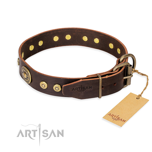 Full grain natural leather dog collar made of quality material with rust-proof decorations