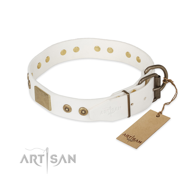 Full grain genuine leather dog collar with strong traditional buckle and decorations