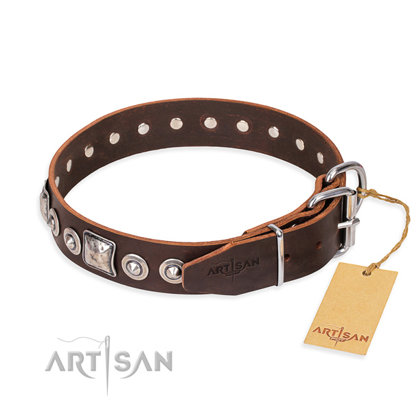 Full grain genuine leather dog collar made of high quality material with durable adornments