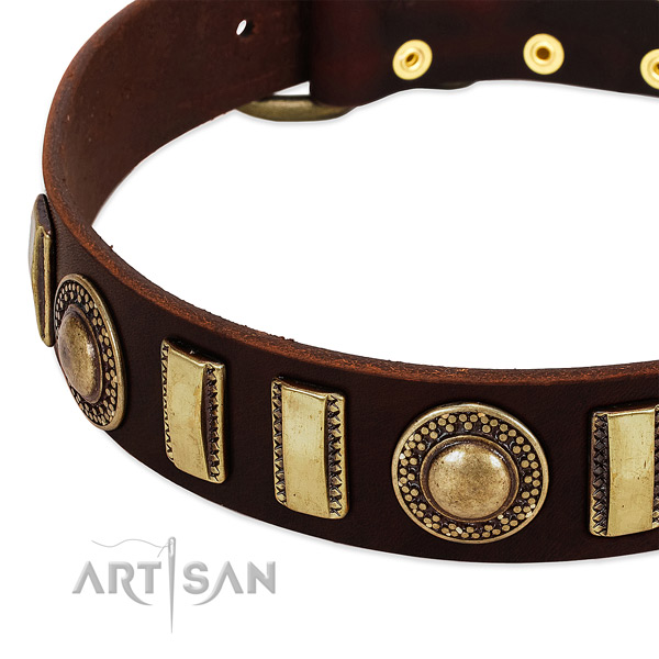 Flexible leather dog collar with corrosion resistant buckle