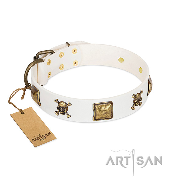 Stylish design full grain leather dog collar with corrosion resistant adornments