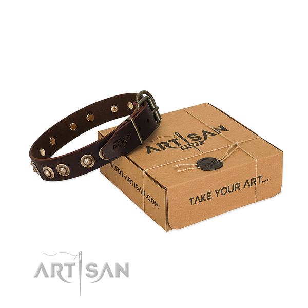 Rust resistant hardware on natural genuine leather dog collar for your pet