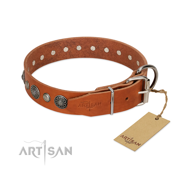 Strong Full grain natural leather dog collar with rust resistant fittings
