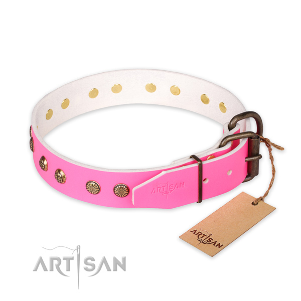 Reliable D-ring on leather collar for your beautiful doggie