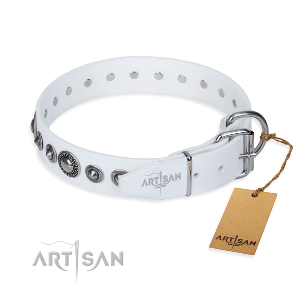 Full grain genuine leather dog collar made of soft to touch material with corrosion resistant adornments