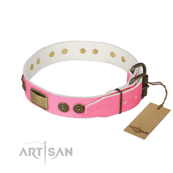 Rust resistant adornments on comfy wearing dog collar