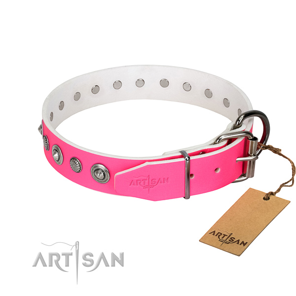 Best quality full grain genuine leather dog collar with extraordinary decorations