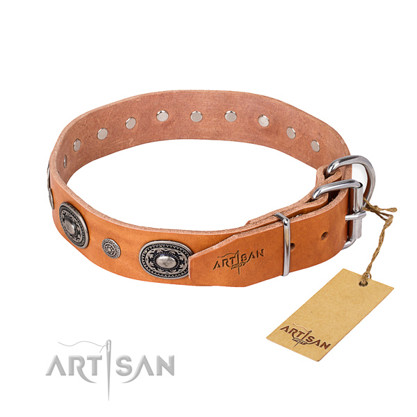 Best quality full grain leather dog collar handmade for handy use