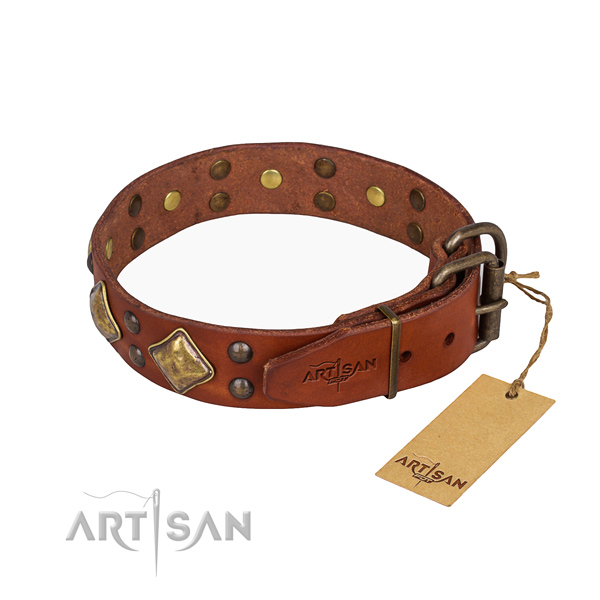 Full grain genuine leather dog collar with awesome corrosion resistant adornments