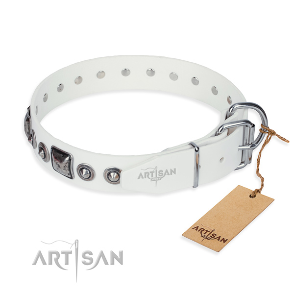 Soft to touch genuine leather dog collar created for daily use