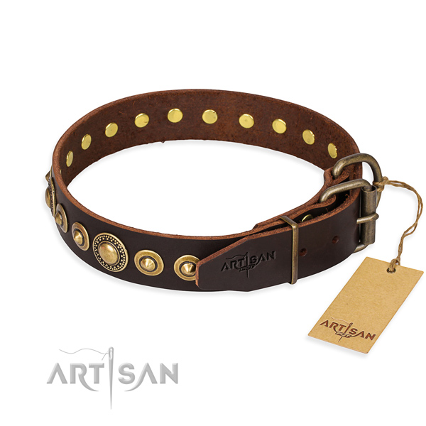 Soft full grain natural leather dog collar crafted for comfortable wearing