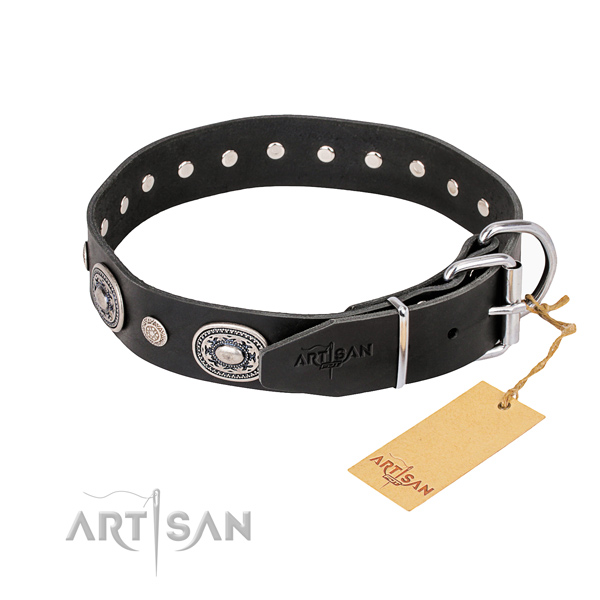 Soft to touch full grain natural leather dog collar crafted for comfortable wearing