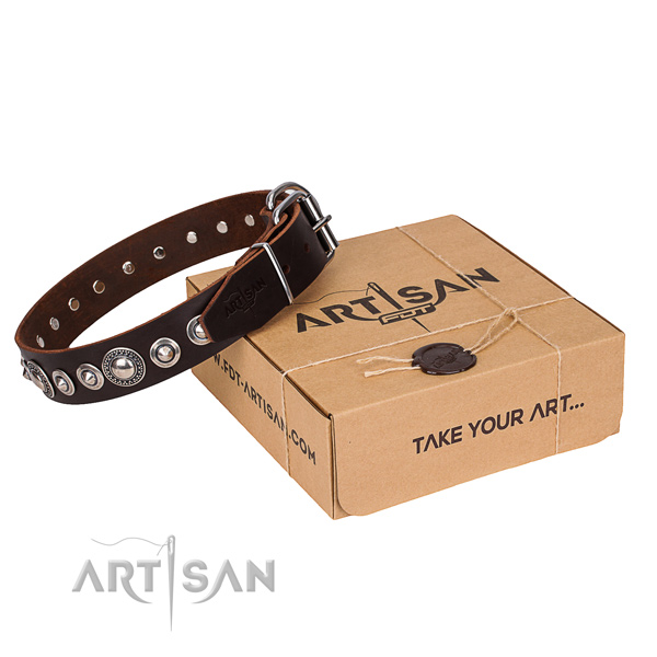 Genuine leather dog collar made of high quality material with corrosion resistant fittings