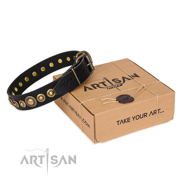 Soft to touch full grain genuine leather dog collar handcrafted for walking