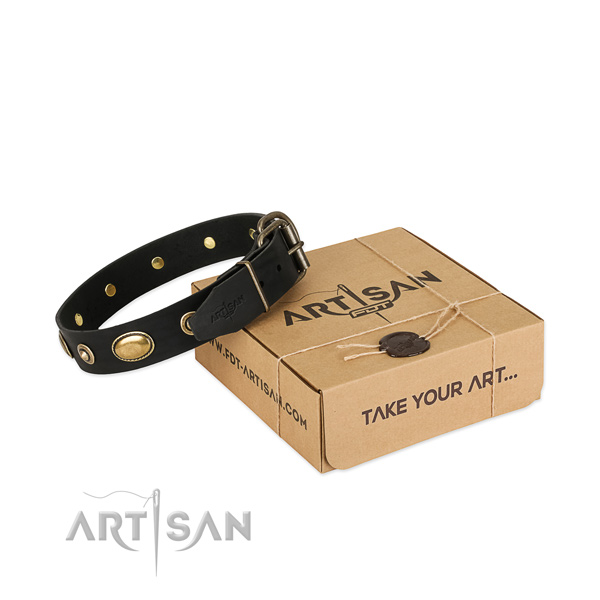 Strong buckle on leather dog collar for your four-legged friend