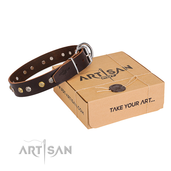 Flexible natural genuine leather dog collar created for easy wearing