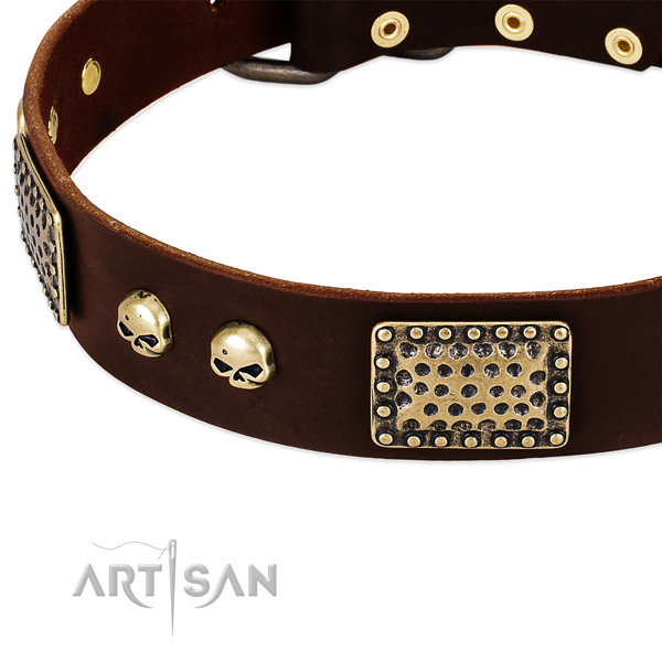 Strong hardware on full grain natural leather dog collar for your dog