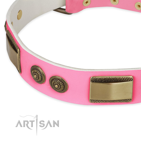 Genuine leather dog collar with studs for comfy wearing