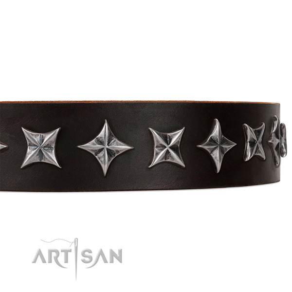 Comfy wearing studded dog collar of fine quality natural leather
