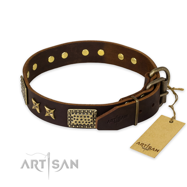 Reliable fittings on full grain natural leather collar for your impressive dog