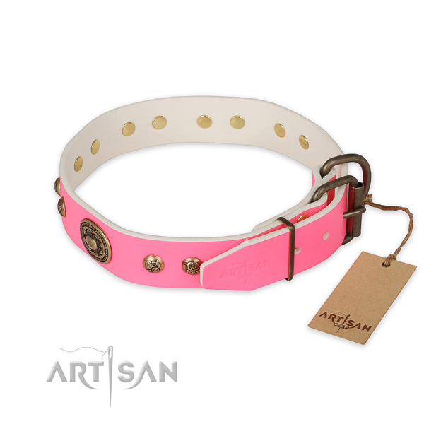 Rust-proof traditional buckle on full grain genuine leather collar for basic training your doggie