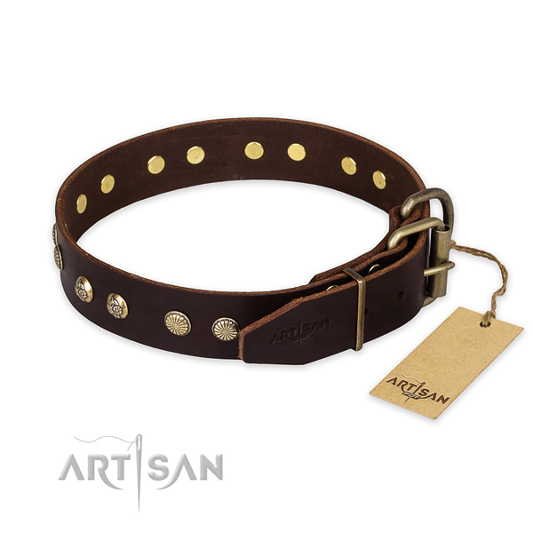 Rust-proof hardware on natural genuine leather collar for your handsome pet
