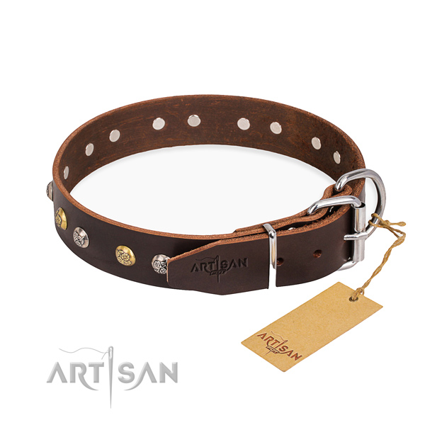 Soft to touch leather dog collar crafted for fancy walking
