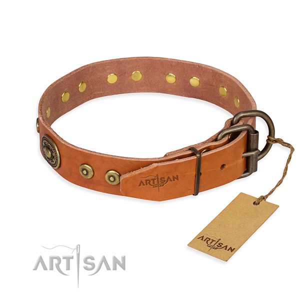 Full grain natural leather dog collar made of soft material with rust-proof studs