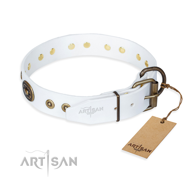Full grain genuine leather dog collar made of high quality material with strong embellishments