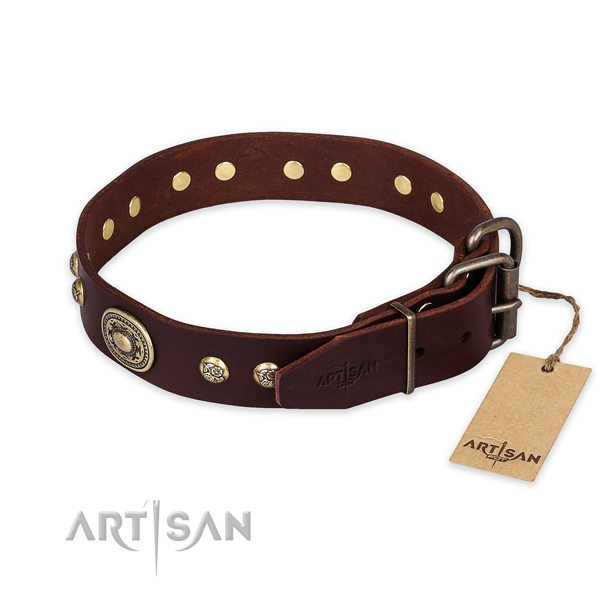 Durable buckle on natural leather collar for basic training your doggie