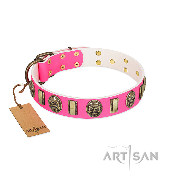 Strong fittings on full grain natural leather dog collar for your dog