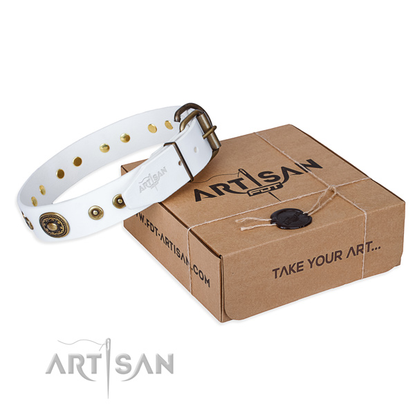 Natural genuine leather dog collar made of soft material with strong traditional buckle