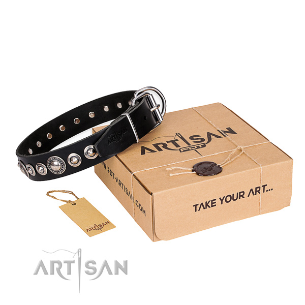 Reliable full grain leather dog collar