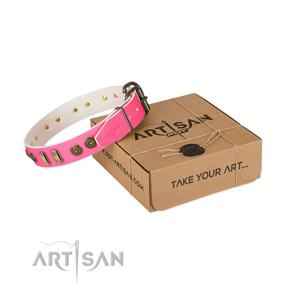 Reliable hardware on natural leather dog collar for your pet