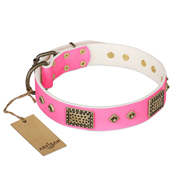 """Frenzy Candy"" FDT Artisan Decorated Pink Leather Cane Corso Collar"