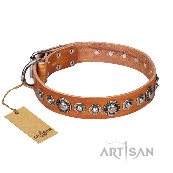 Genuine leather dog collar made of soft material with corrosion proof D-ring
