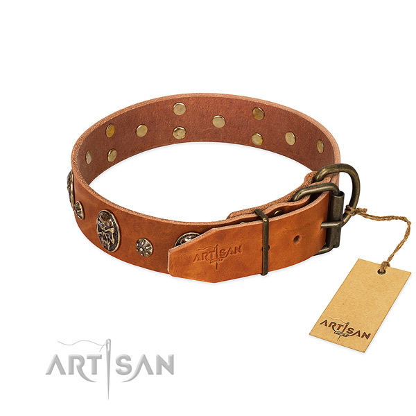 Durable D-ring on full grain genuine leather dog collar for your pet
