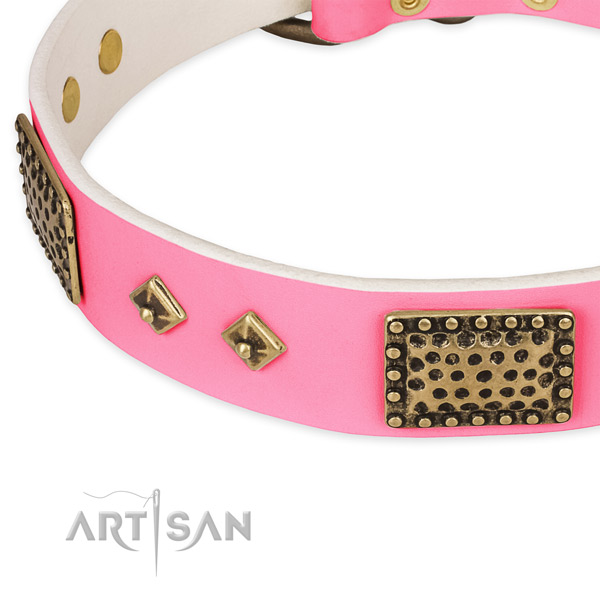 Full grain leather dog collar with embellishments for easy wearing