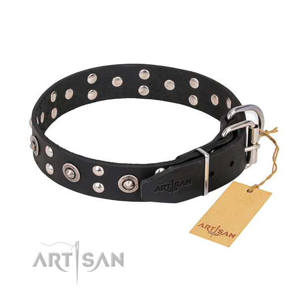 Corrosion resistant fittings on full grain genuine leather collar for your stylish four-legged friend