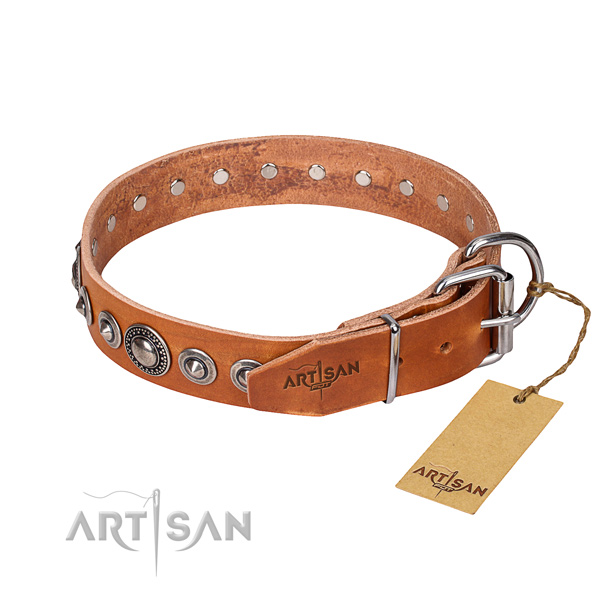 Full grain genuine leather dog collar made of high quality material with corrosion proof decorations
