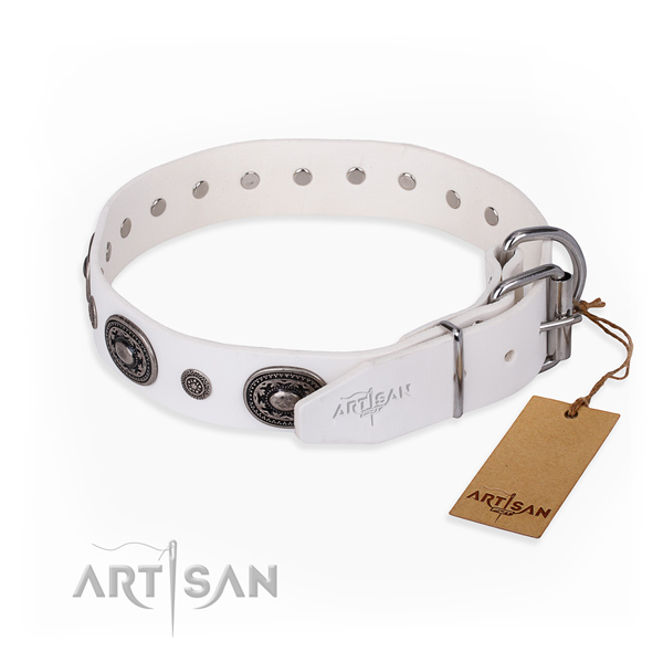 Strong natural genuine leather dog collar made for stylish walking