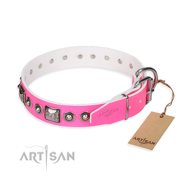 Gentle to touch leather dog collar crafted for walking