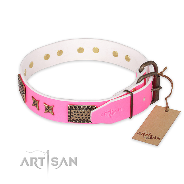 Strong buckle on full grain genuine leather collar for your attractive four-legged friend