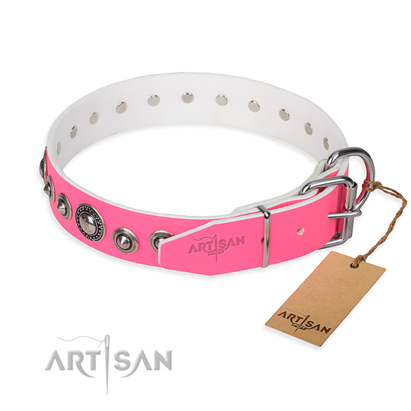 Full grain natural leather dog collar made of gentle to touch material with durable embellishments