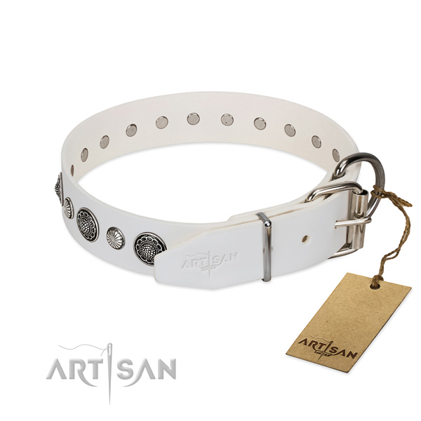 Top rate genuine leather dog collar with corrosion proof fittings