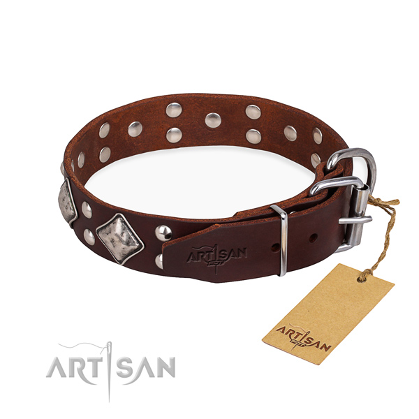 Genuine leather dog collar with designer rust-proof decorations