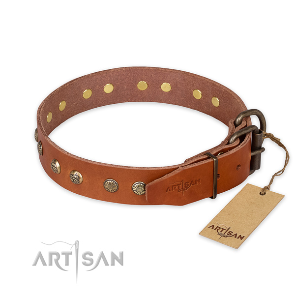 Rust resistant hardware on leather collar for your stylish doggie