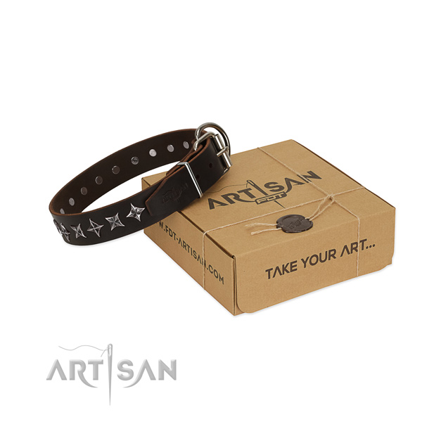 Comfortable wearing dog collar of finest quality leather with decorations