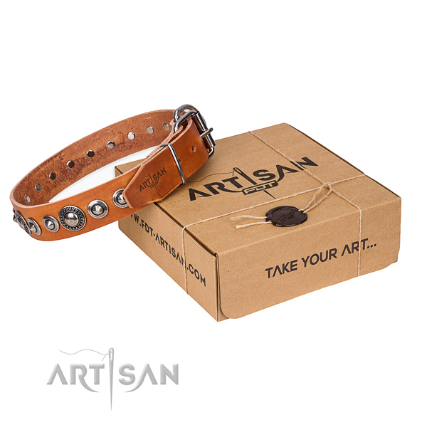 Full grain leather dog collar made of flexible material with reliable hardware