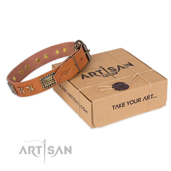 Rust resistant hardware on full grain leather collar for your beautiful doggie